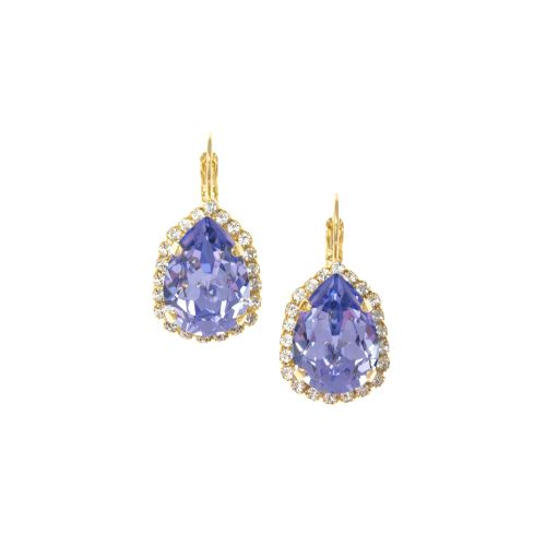 Lavender Pear Crystal Earrings