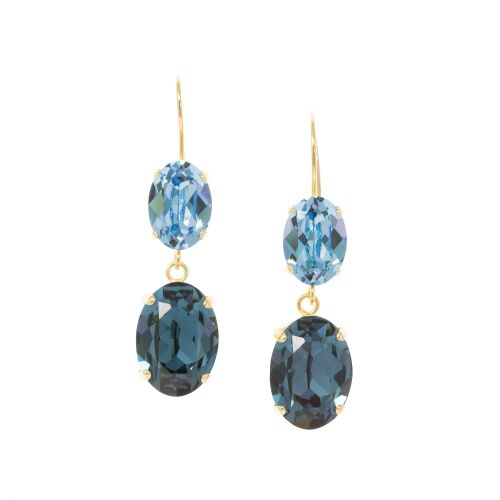 Oval Double Drop Sapphire and Aquamarine Earrings