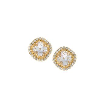 Crystal Diamond Crown Square Cushion Stud Earrings