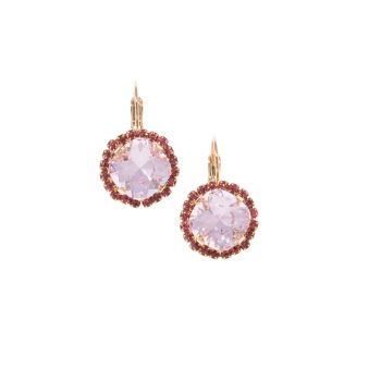 Rose Pink Square Cushion Earrings