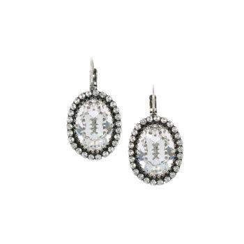 Oval Crystal Crown Earrings