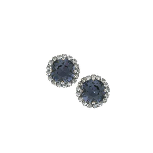Graphite Crystal Stud Earrings