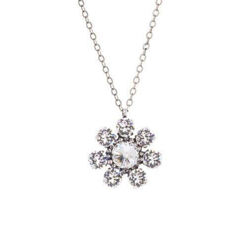 Round Crystal Diamond Flower Pendant Necklace