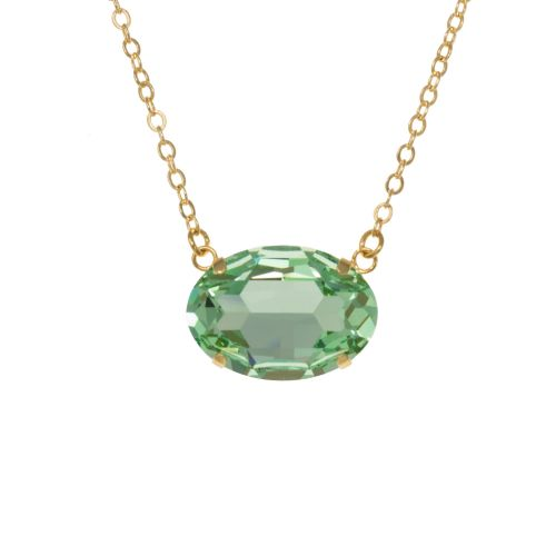 Large Oval Peridot Green Pendant Necklace