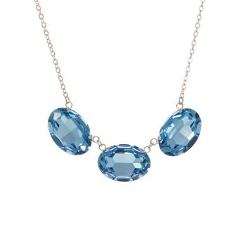 Large Aquamarine Triple Oval Necklace