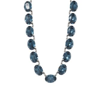 Dark Sapphire Crystal Collet Necklace