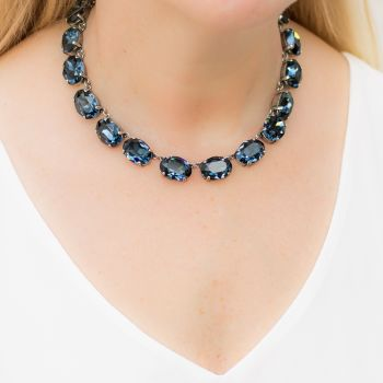 Dark Sapphire Crystal Collet Necklace