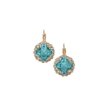 Light Turquoise Square Cushion Crystal Earrings