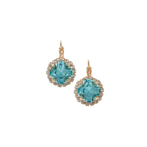 Light Turquoise Cushion Crystal Earrings