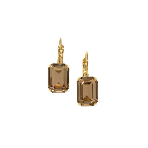 Light Topaz Octagon Crystal Earrings