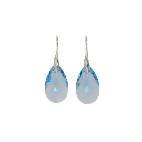 Sterling Silver Aquamarine Crystal Earrings