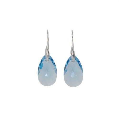 Sterling Silver Aquamarine Crystal Earrings
