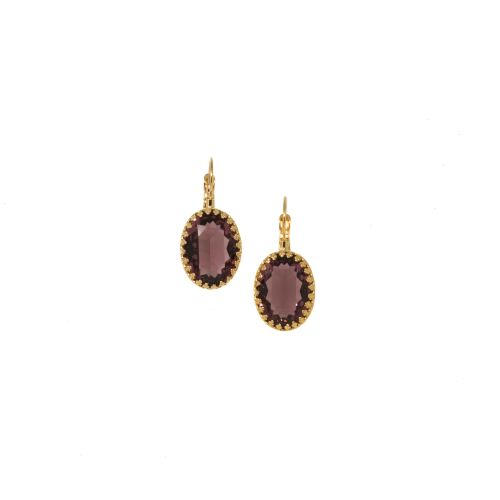 Amethyst Crystal Crown Earrings