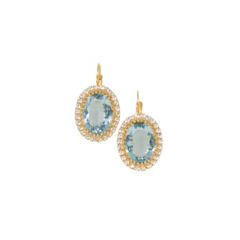 Aquamarine Crystal Crown Earrings