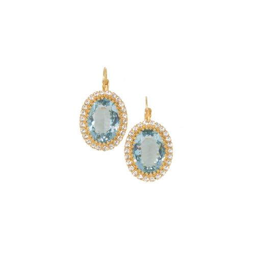 Aquamarine and Crystal Crown Earrings