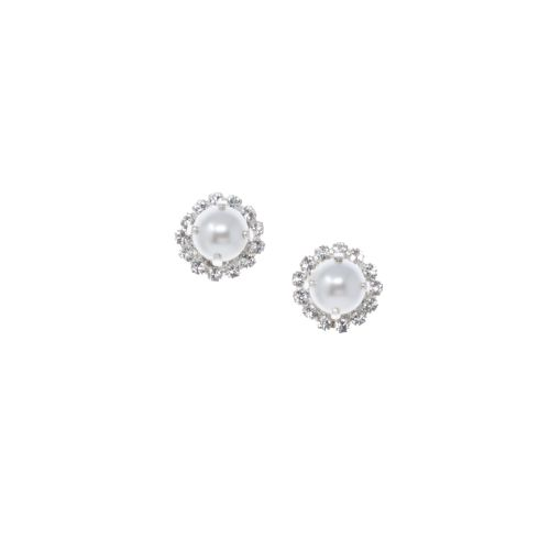 Pearl and Crystal Diamond Stud Earrings