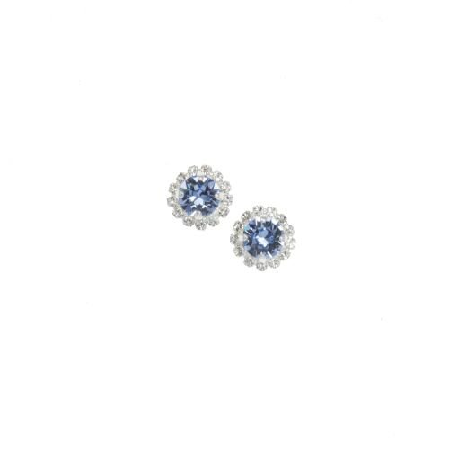 Light Sapphire Blue Round Stud Earrings