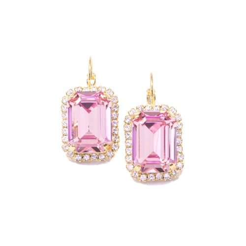 Light Rose Pink and Crystal Earrings - Large