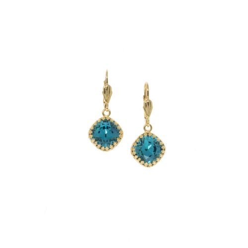 Dark Aqua Crown Square Cushion Earrings