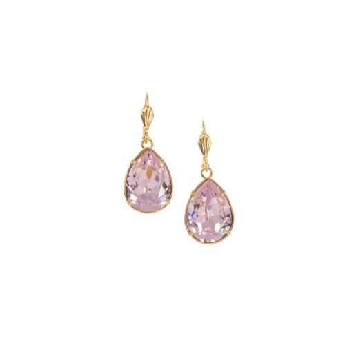 Pink Pear Dangle Crystal Earrings