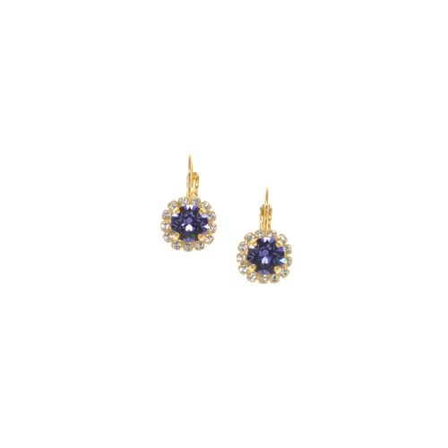 Tanzanite Crystal Round Earrings