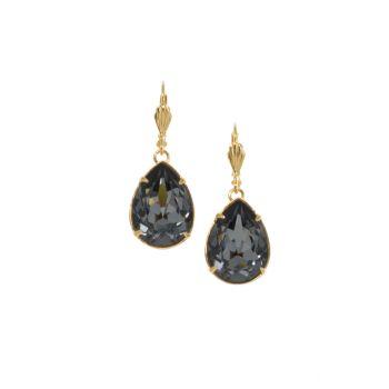 Silver Night Pear Dangle Earrings