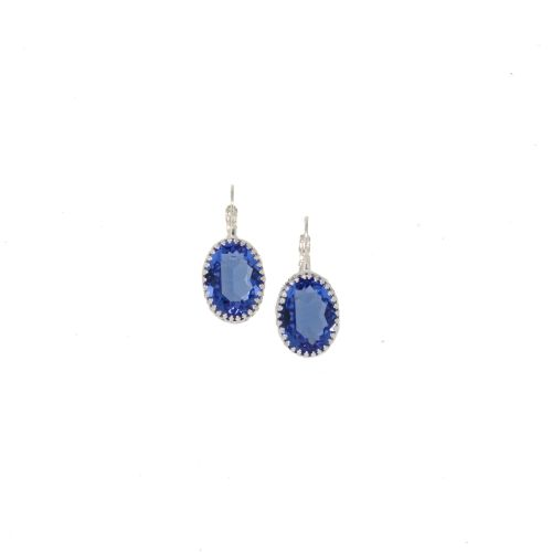 Sapphire Blue Crystal Crown Earrings