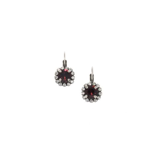 Burgundy Round Crystal Earrings