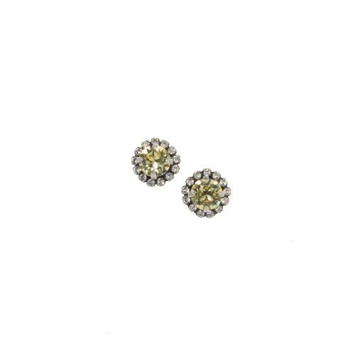 Pale Yellow Crystal Stud Earrings