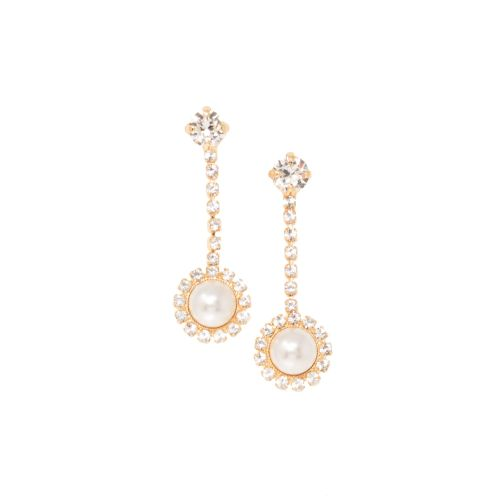 Pearl and Crystal Drop Earrings