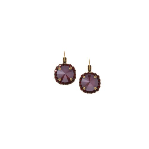 Dark Red and Ruby Rivoli Crystal Earrings