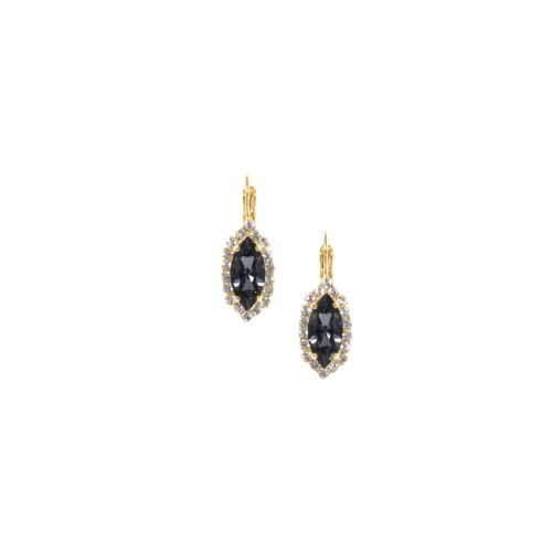 Silver Night Black Navette Earrings