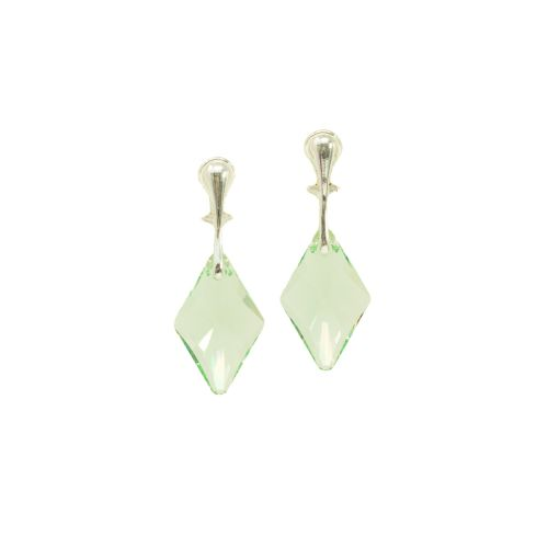 Clip On Sterling Silver Green Deco Crystal Earrings
