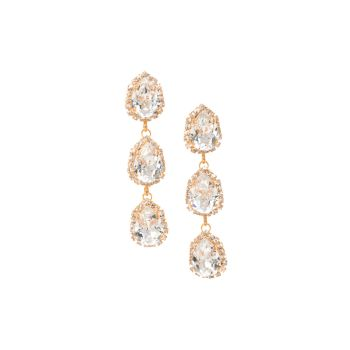 Pear Triple Drop Crystal Stud Earrings