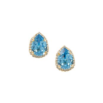 Aquamarine and Crystal Pear Stud Earring