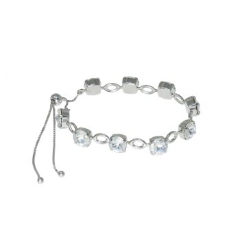 Crystal Open Link Tennis Rivoli Bracelet with Adjustable Slider