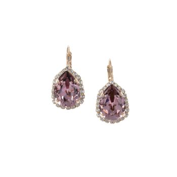 Antique Pink Pear Crystal Earrings