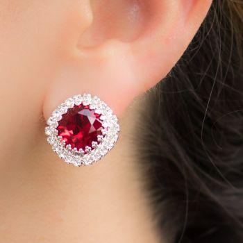 Ruby Crystal Crown Stud Earrings
