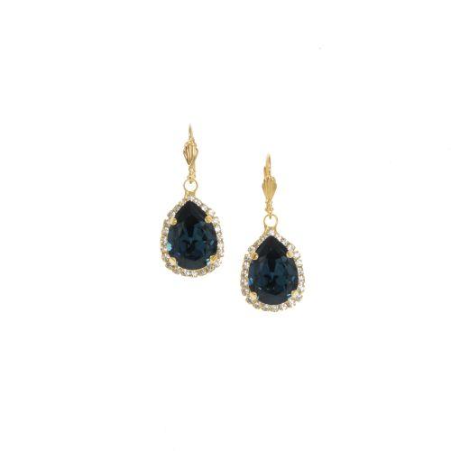 Blue Sapphire Pear Crystal Earrings