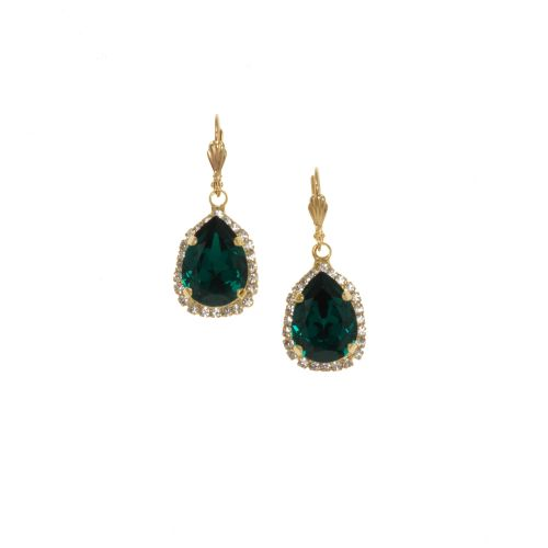 Green Emerald Pear Crystal Earrings
