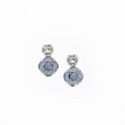 Light Blue-grey Square Cushion Stud Earrings