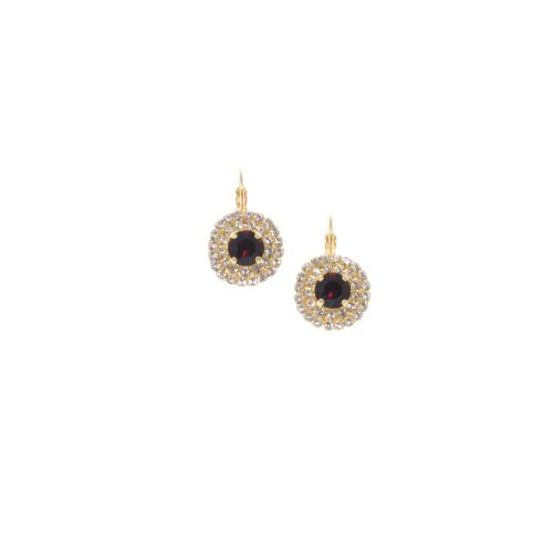 Garnet Round Crystal Halo Drop Earrings