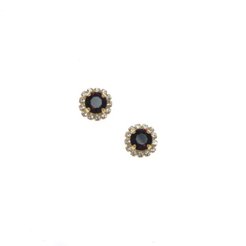 Garnet Round Halo Stud Earrings