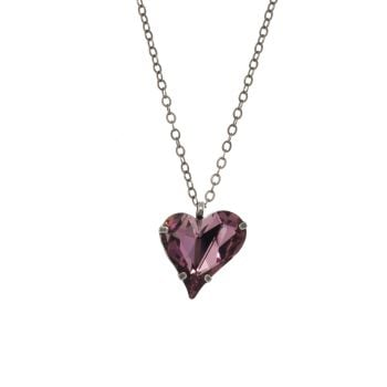 Antique Pink Large Crystal Heart Pendant