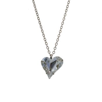 Blue-Grey Crystal Sweet Heart Pendant