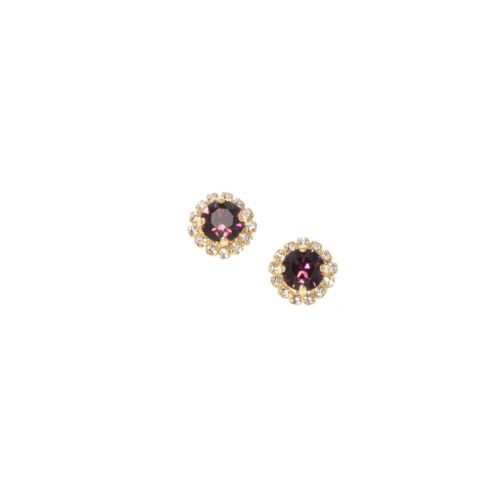 Amethyst Round Halo Stud Earrings