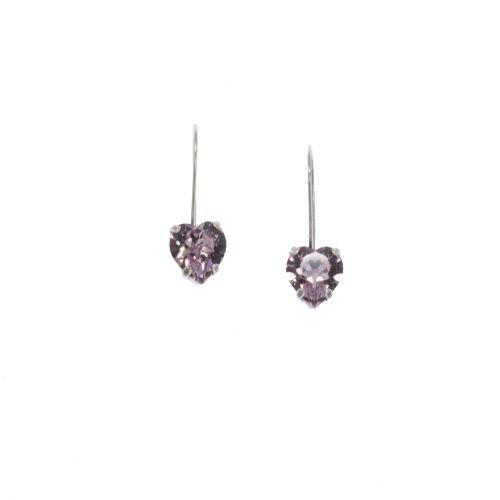 Amethyst Heart Crystal Drop Earrings