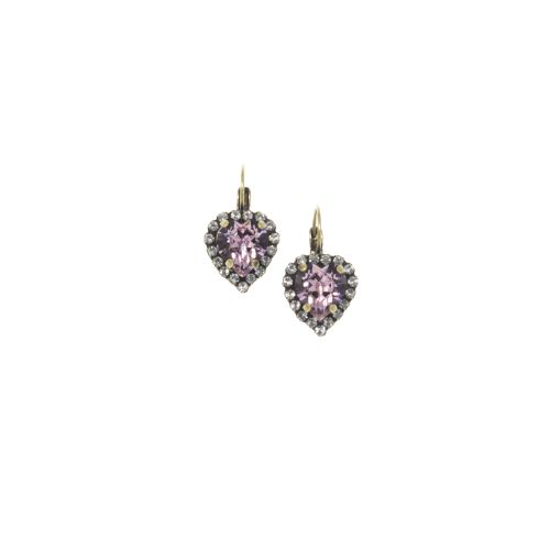 Light Amethyst Heart Earrings