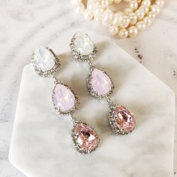 Pink Opal Triple Pear Drop Stud Earrings
