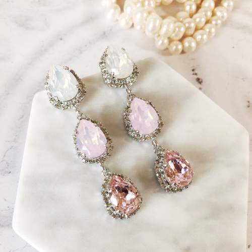 Pink Opal Triple Pear Drop Stud Earrings